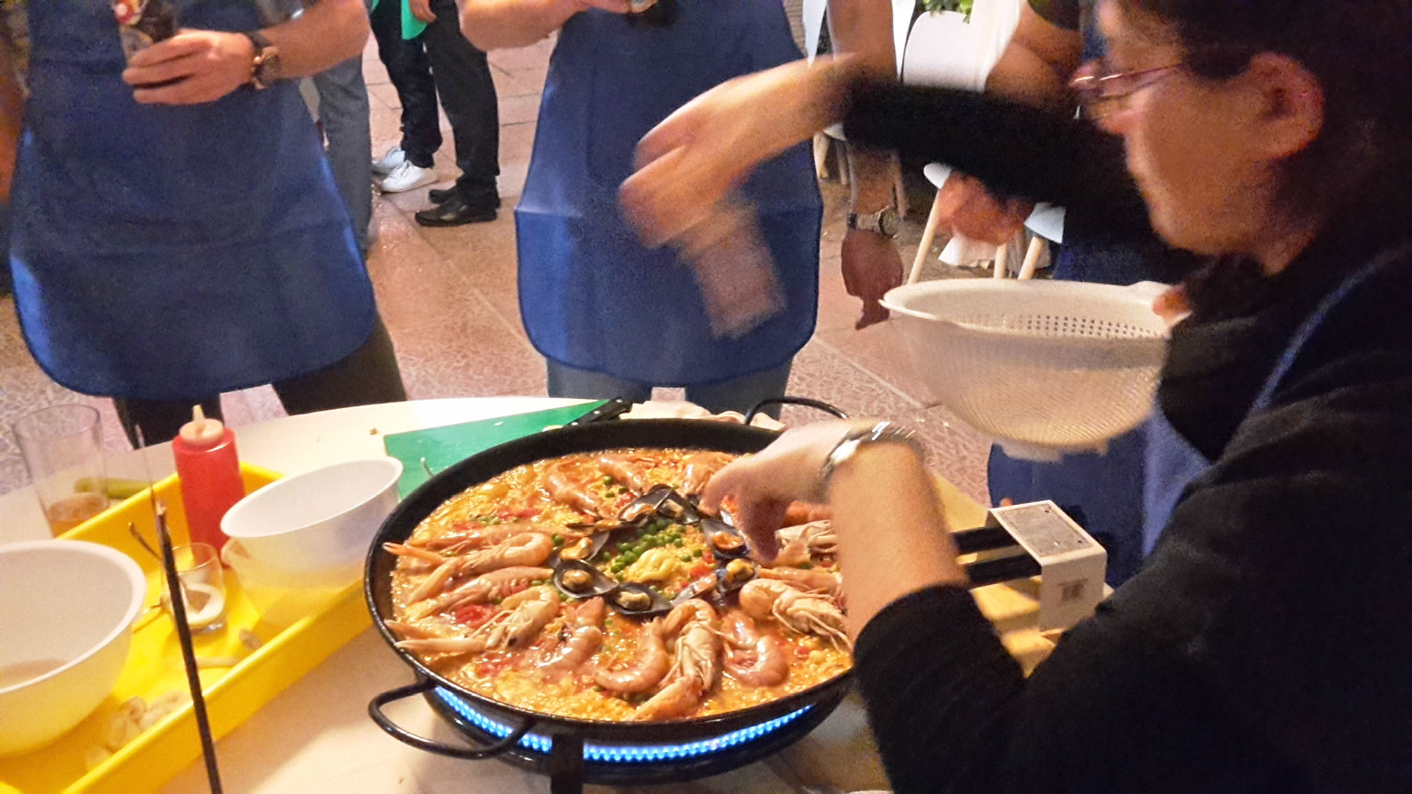Paella cooking activity in Spain